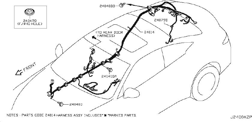 24239-4ga0e - Bracket Harness Clip  Fitting  Room  Body