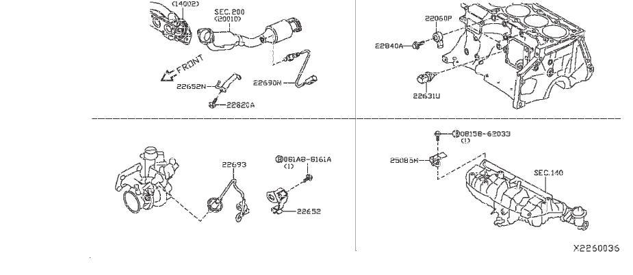 Infiniti Qx50 Oxygen Sensor  Module  Engine  Control - 22693-6ca0b