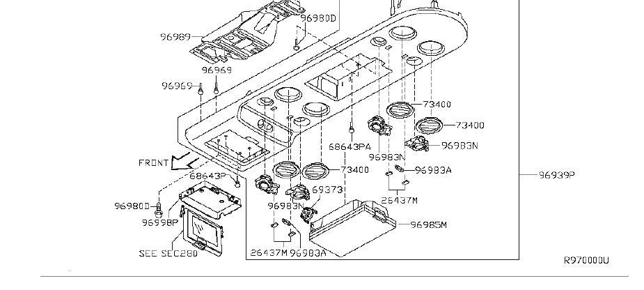 Infiniti Qx56 Spot Lamp Roof Console Box  Dvd