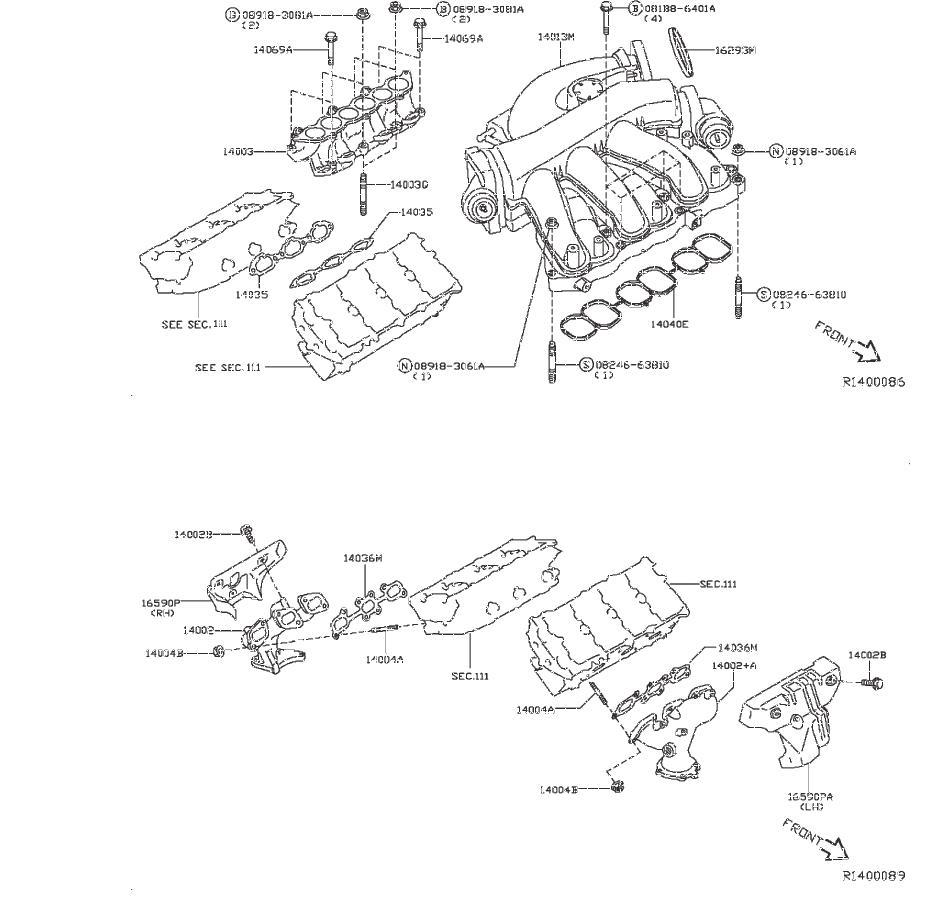14010-4ra0b - Engine Intake Manifold  Cover  Exhaust