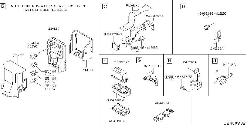 2007 Infiniti Fx45 Holder Fusible Link  Harn  Room