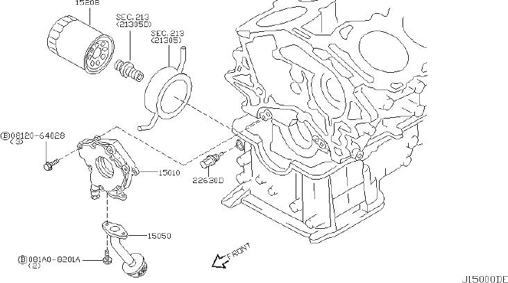 Infiniti G35 Engine Oil Filter Adapter Gasket