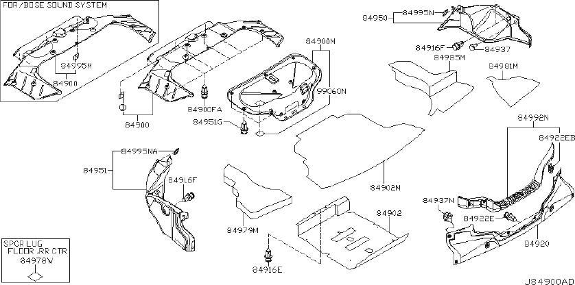 84951-AC800 - Trunk Trim Panel (Left, Rear) - Genuine ...