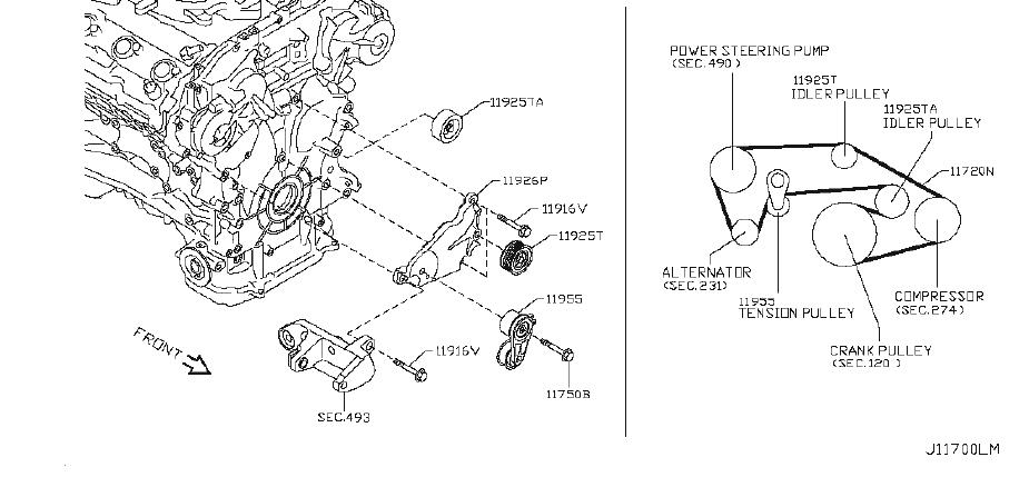 Infiniti M35 Bracket Belt Tensioner  Bracket Idler Pulley  Compressor  Steering  Power
